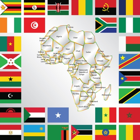 cameroon: Illustration of africa map and flags Illustration