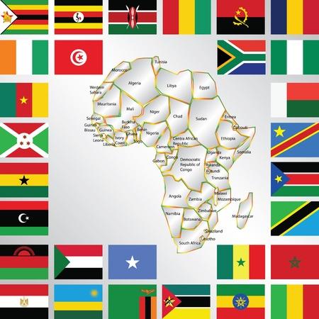 nações: Ilustra��o do mapa de �frica e bandeiras