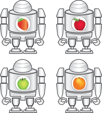 illustration of robot and fruits Illustration