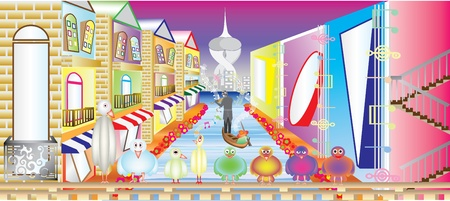 Illustration of a cartoon landscape with multicolored buildings Illustration