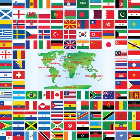 flags world: banderas del mundo con mapa Vectores