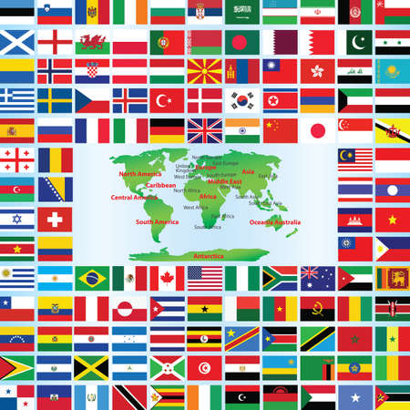 world flags with map  Vector