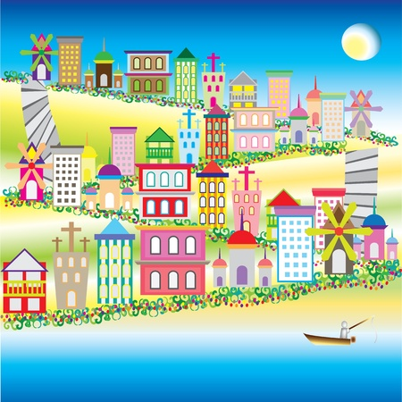 fishing village: illustration of city on the green glass hill