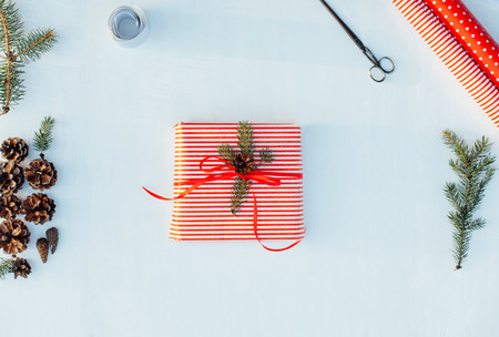 wrapped gift: Wrapped gift on white background