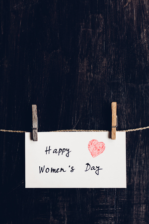 wallpaper International Women s Day: Send a Happy Womens Day greeting message on bright white paper with red heart