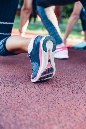 Closeup of woman sports shoes, ready for run.