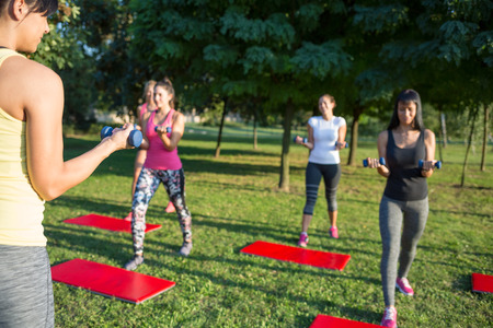 toning: Group of women training with dumbbells in the park