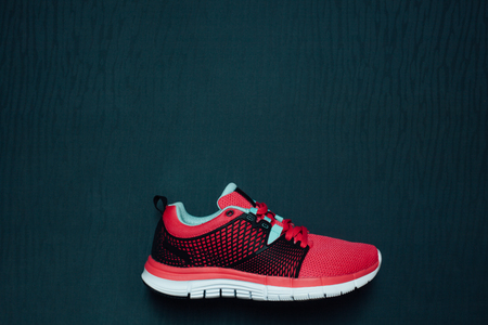Womans running shoes with empty space for your ad Stock Photo