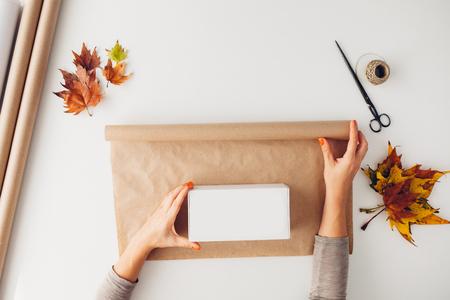 Woman preparing gifts presents