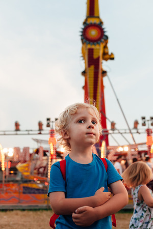 Cute little boy in luna park