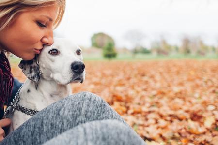 dog owner: Closeup of happy owner woman kissing dog in autumn park with empty space