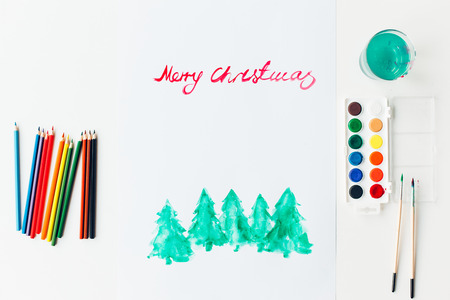 Merry Christmas decorations painting with a water color. Abstract watercolor hand painted background.