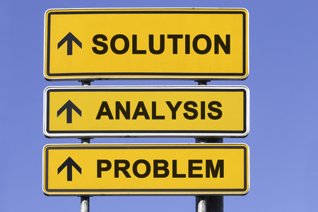 three yellow signs with arrows  showing the way to problem solving in business, starting with analyzing the problem and leading to solution Standard-Bild
