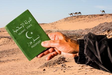 passeport: D�sert du Sahara avec des chameaux en arri�re-plan et un bras masculin tenant un passeport vert avec une demi-lune blanc et �toiles. Les mots de l'Etat islamique et de passeport sont �crits en langue arabe et en anglais