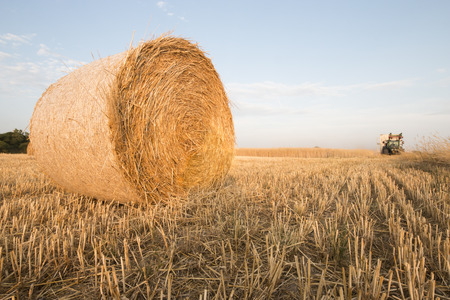 Harvested field with a bale of straw and a tractor, concept for farming and agriculture