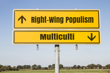 rightwing: yellow german traffic sign with arrows showing uptrend for right-wing populism and and downtrend for multiculti. Concept concerning the growing nationalism and xenophobia