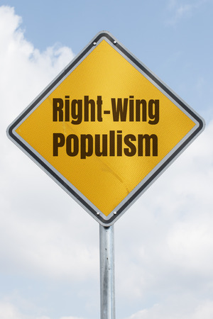 rightwing: yellow rhombus traffic sign with the words right-wing populism. Political concept for an international trend Stock Photo