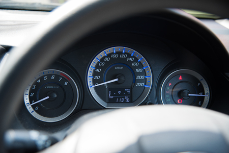 depth measurement: Auto Parts, Car instrument panel dashboard automobile control illuminated panel speed display, close up and shallow depth of field