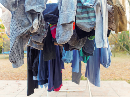 be wet: Washed clothes  drying on the terrace.