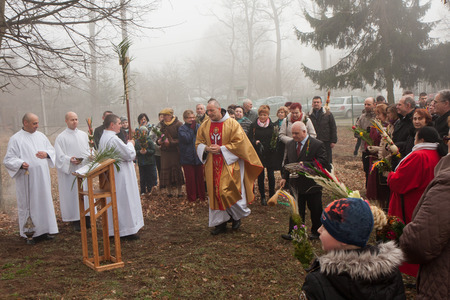 christianity palm sunday: Otwock, Poland- March 29, 2015: Palm Sunday in a Polish church. The faithful gathered in front of the church with  traditional palm branches
