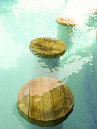 warm water: Wooden bridges in the blue and warm water pool
