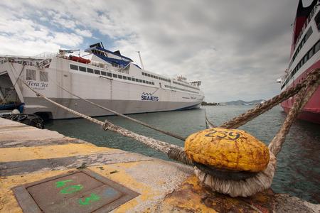 Piraeus, Greece-April 04, 2015: A ferry moored to the quay