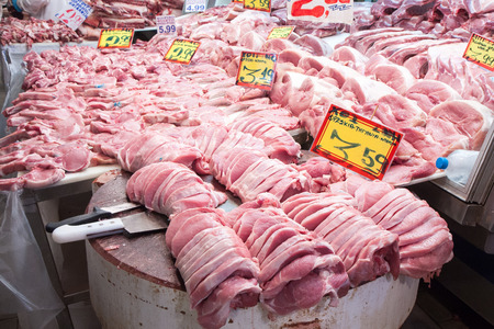 carcass meat: Athens Greece April 06 2015: City Market. Different kind of the meat available on the stands