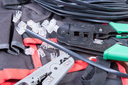 cable cutter: Internet fitter39s tools on a work table