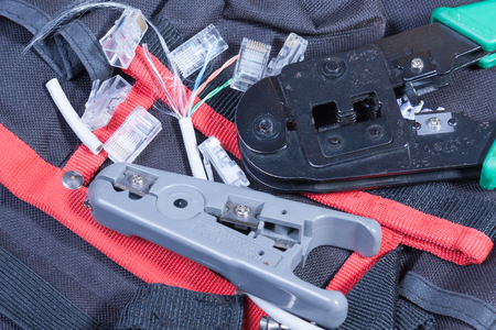 cable cutter: Internet fitters tools on a work table Stock Photo