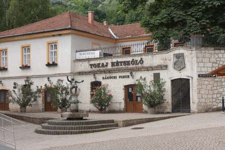 clarify: Tokaj, Hungary-June 29, 2015:  The entrance to the winery cellars where the wine Tokaj gets aged