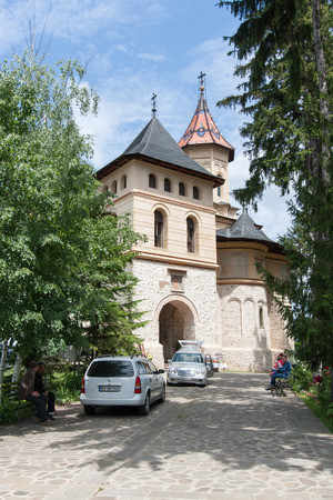ambulatory: Suceava, Romania - 01 July, 2015: View of the entrance to the Monastery of John in Suceava Editorial