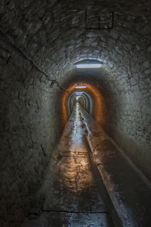 turda: Turda, Romania. 02 July, 2015:  Long tunnel in a salt mine in Turda