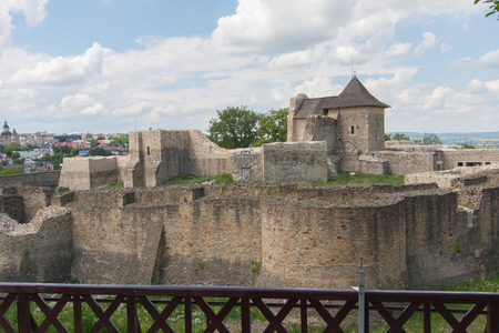 moat wall: Suceava, Romania - 01 July, 2015:  The ruins of the medieval castle in the town of Suceava