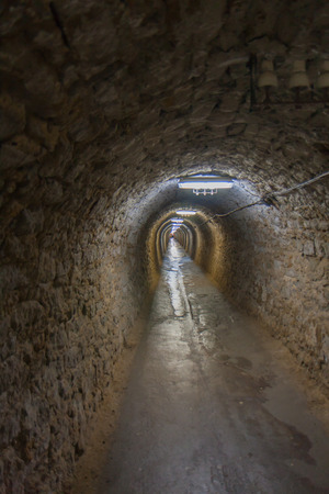 salt mine: Turda, Romania. 02 July, 2015:  Long tunnel in a salt mine in Turda