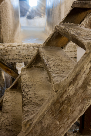 turda: Salt crystals covered wooden structures in the salt mines