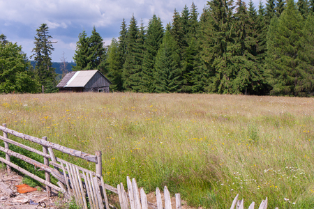 outfield: Small wooden house on a multicolored meadow in the Romanian Carpathians Stock Photo