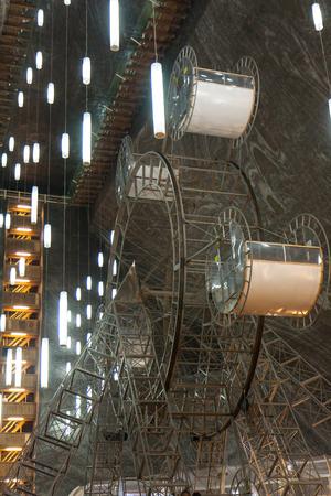 turda: Turda, Romania. 02 July, 2015: Ferris wheel in Turda salt mine