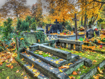 votive candle: Warsaw, Poland - October 27, 2015: Autumn on the old, monumental, Orthodox cemetery