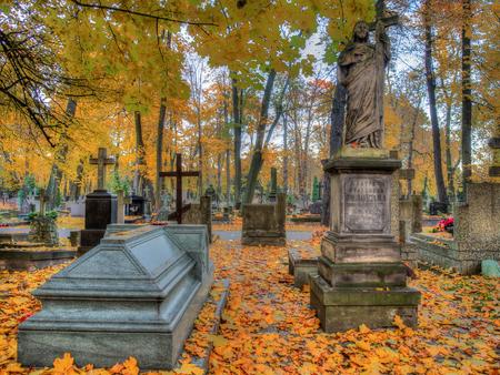 hallowmas: Warsaw, Poland - October 27, 2015: Autumn on the old, monumental, Orthodox cemetery