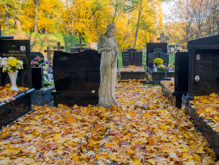 monumental cemetery: Warsaw, Poland - October 27, 2015: Autumn on the old, monumental, Orthodox cemetery
