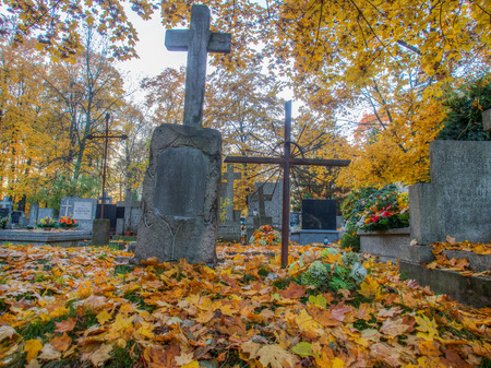 unmarked: Warsaw, Poland - October 27, 2015: Autumn on the old, monumental, Orthodox cemetery