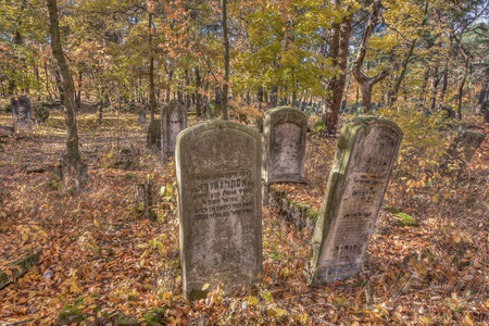tumulus: Otwock, Poland - October 28, 2015:  Devastated Jewish cemetary in Otwock town