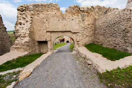 defensive: Rupea Castle, Romania-July 03, 2015:  Defensive walls of a medieval castle.