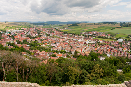 scarp: The view from the top of the castle walls over the nearby villages