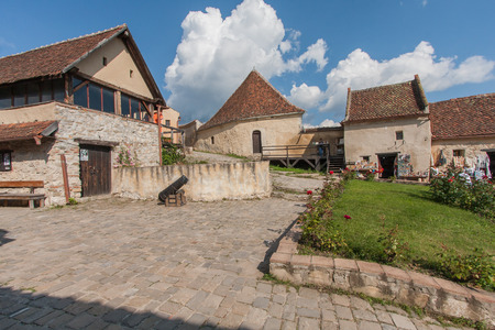 gaff: Rasnov, Romania - July 04, 2015: The stone, brick hut inside the medieval castle Editorial
