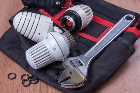 pinchers: Professional plumbing tools and seals placed in the workplace Stock Photo