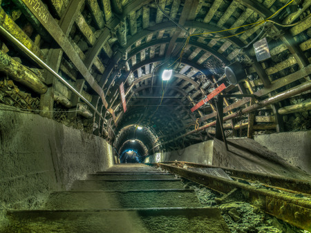 exploit: Ruda Slaska, Poland - November 05, 2015:  Coal mine. Stairs in a  mine tunnel