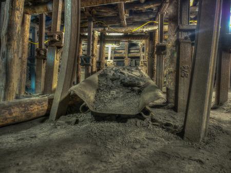 Ruda Slaska, Poland - November 05, 2015: Coal mine. Conveyor working in a mine tunnel. Redakční