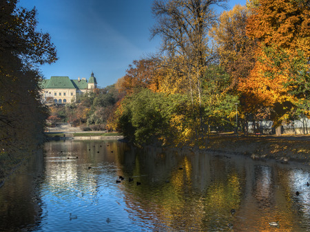 sumptuous: Warsaw, Poland - October 28, 2015: Royal Baths, the Palace on the Island in an autumn scenery