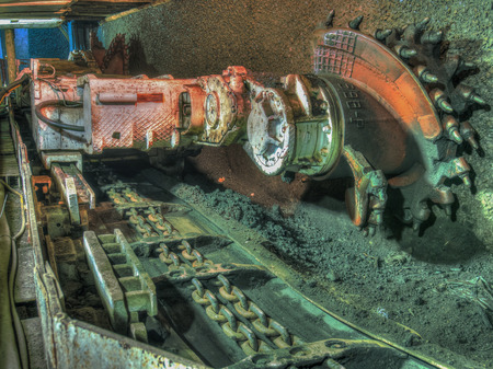 shearer: Ruda Slaska, Poland - November 05, 2015: A shearer l machine working  in a coal mine. Stock Photo